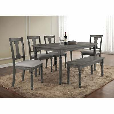 Fine Modern Grey Dining Furniture Rectangle Table 6Piece Dining Table Bench Chair Set Ebay Alphanode Cool Chair Designs And Ideas Alphanodeonline