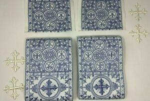 Cruz-Emblems-Banda-Vestment-Gris-Azul-Encendido-Blanco-8-PC-Lote-Paquete