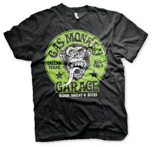 OFFICIAL-Licensed-Gas-Monkey-Garage-Verde-Logo-T-shirt-Uomo-S-3XL-Nero