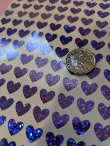 90 corazones púrpura brillante Holográfico impermeable de vinilo Adhesivos removibles de 10 mm