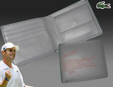 New Authentic LACOSTE LEATHER WALLET Punched Croc 6 Grey Small Billfold +CP