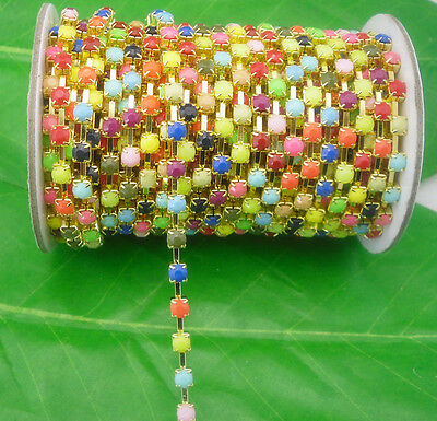 SS16 Costume Applique 4mm lot color Acrylic rhinestone golden Trimming Chain