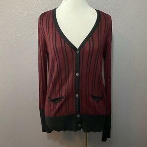 Simply-Vera-Vera-Wang-Size-S-Burgundy-Purple-Black-Striped-Cardigan-Sweater