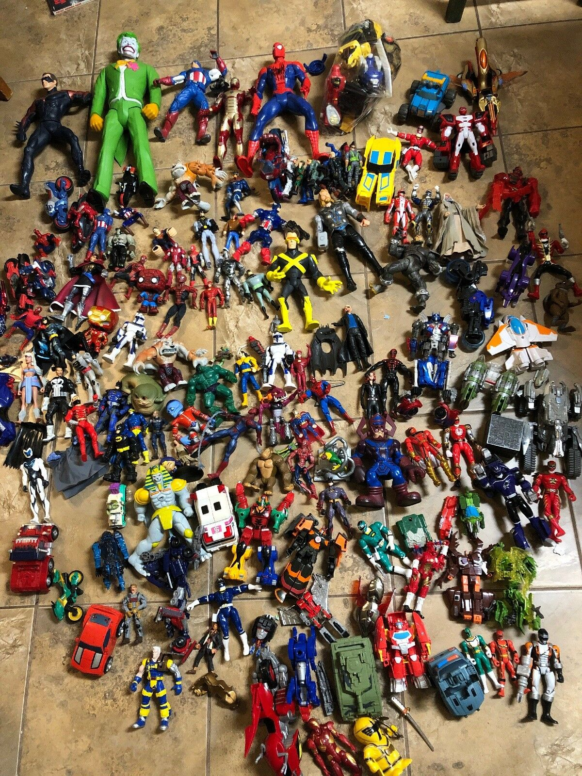 Lot Of 125 Plus DC Marvel Comics Power Rangers / Transformers Action Figures