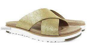 7d0b66f4b6b Details about UGG Australia Kari Metallic Gold Sandals Womens Size 6 *NIB*