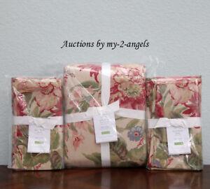 Pottery-Barn-MARLA-FLORAL-Cotton-Linen-King-Duvet-Cover-2-King-Shams-Set-vintage