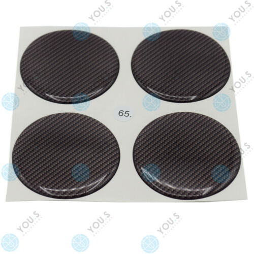 4 x YOU S moyeu Bouchons silicone Autocollant 65,0 mm-Noir Carbon look