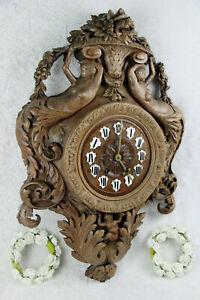 RARE-Antique-BLACK-FOREST-wood-carved-mermaids-putti-caryatid-clock-German