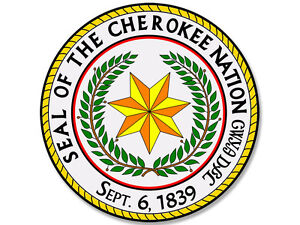 4x4 Inch Round Seal Of The Cherokee Nation Sticker Decal