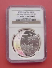 Canada 2008 Home of 2010 Vancouver Olympics 25 Dollars Silver PP Coin NGC PF70UC