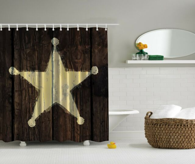 Southwestern Primitive Rustic Wooden Lone Star Shower Curtain Extra Long 84 Inch