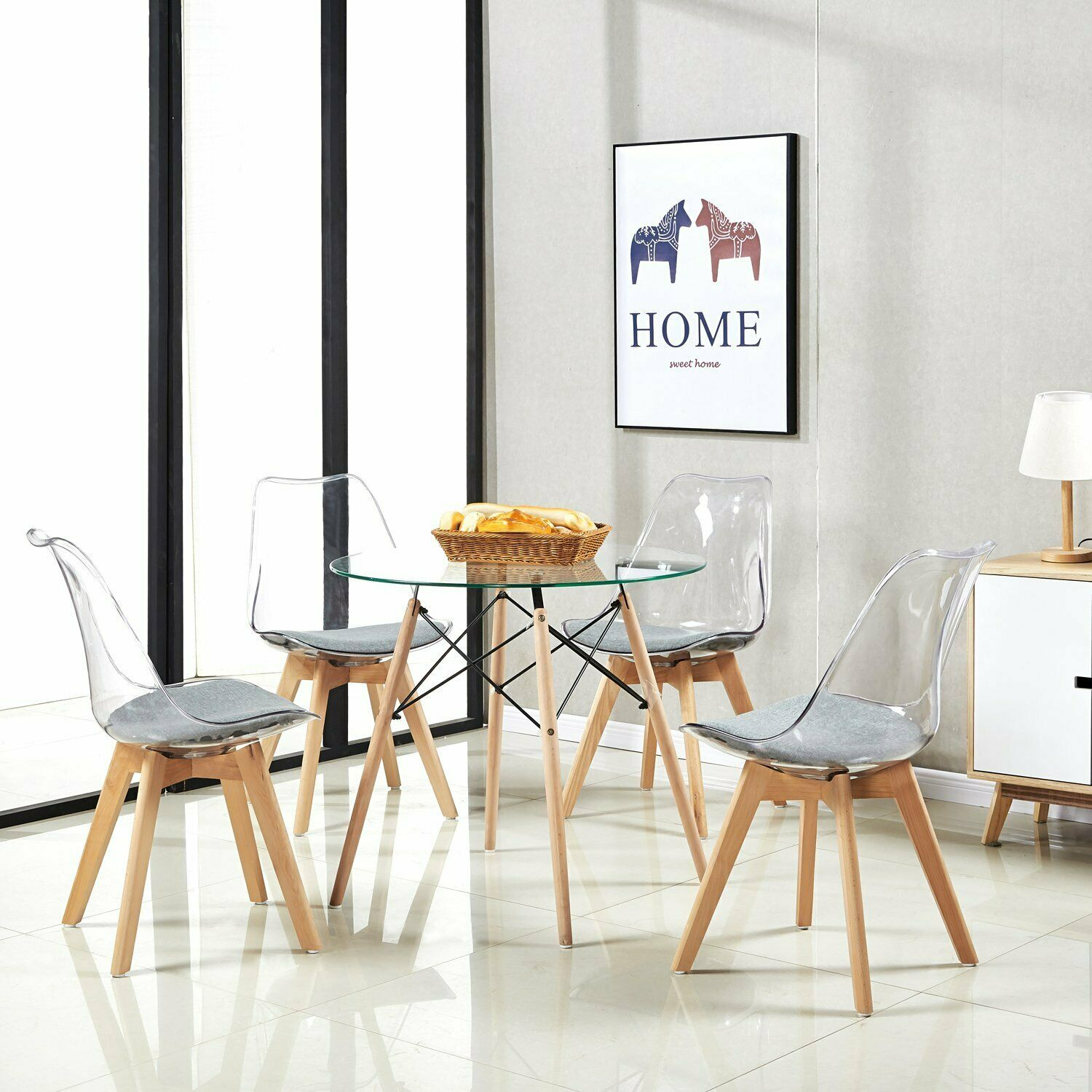 low priced 8c1ad 464b4 Details about EGGREE 4pcs Contemporary Design Transparent Clear Dining  Chairs With Padded Seat