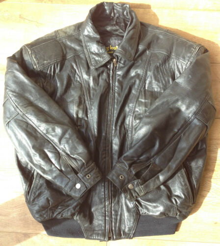 Bomber Men's Black Biker Large Ameer Leather Zipped Classic Jacket Warm Soft gqwAXTWcC