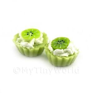 4x maison de poupées miniature loose Handmade Kiwi Slice Vert tartelettes  </span>