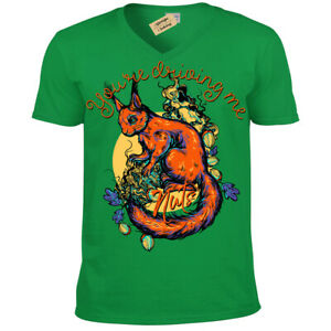 You-039-re-driving-me-nuts-T-Shirt-Squirrel-Mens-V-Neck