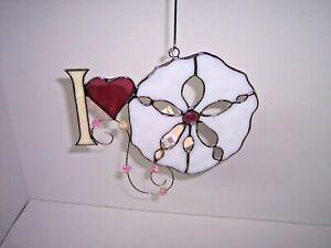 Stained-Glass-Suncatchers-034-I-Love-Sand-Dollars-034-7-034-T-x-8-034-W-Suncatcher