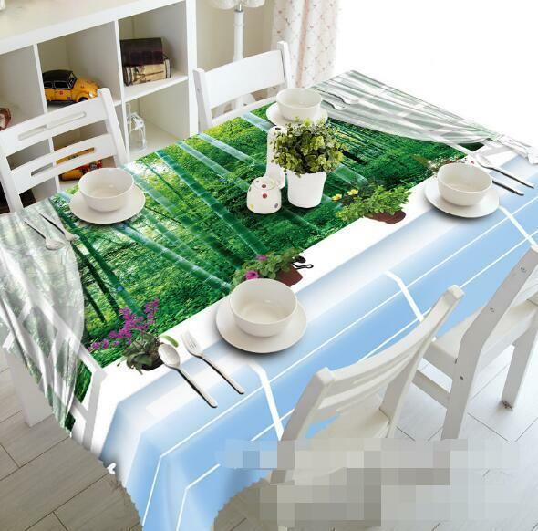3D Window Bamboos Tablecloth Table Cover Cloth Birthday Party Event AJ WALLPAPER