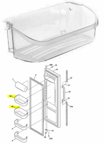 Top Door Shelf Bin Frigidaire LFSS2612TE0 LGHS2634KE0 FPHS2699PF2 LGUS2642LF0