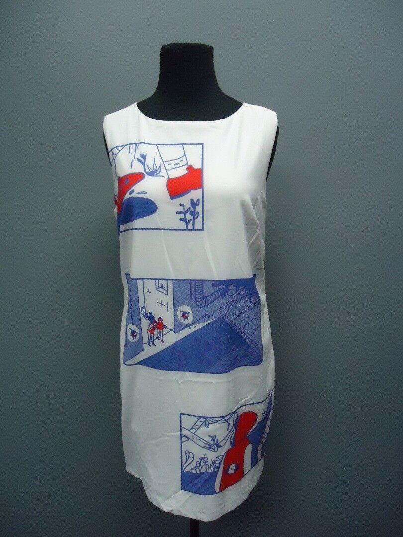 LA GALERSITE White Patter Sleeveless Knee Length Sample Dress NWT Sz S EE9009