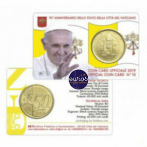 Coincard-euro-0-50-VATICAN-2019-n-10-Le-Saint-Pere-Brillant-Universel