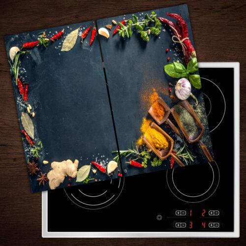 Herd-Abdeckplatte Glas Ceranfeld-Abdeckung Deko Kräuter Gewürze 2x30x52 cm