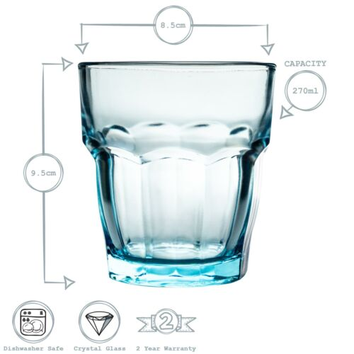 Tumbler Glasses Hiball Drinks Water Tumblers Bormioli Rocco Blue 270ml x6