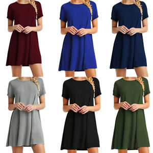 33d87664808 Women Short Sleeve T-Shirt Dress Tunic Tops Loose Swing Summer Midi ...
