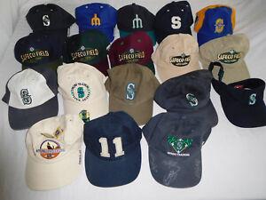 33568c86ef993 Lot of 18 Seattle Mariners Baseball Cap Dad Hat Strapback Visor ...