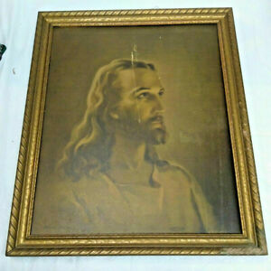 Vintage-1940-034-Head-of-Christ-034-Jesus-Litho-by-Sallman-Wood-Frame-18-5-034-x-22-5-034