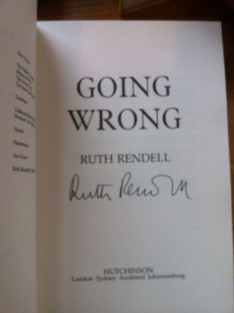 Going Wrong, 1st, Signed By Ruth Rendell