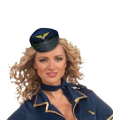 Mini Pilot Hat Blue Costume Cap Black Brim Pilots Fancy Dress Womens Adult NEW