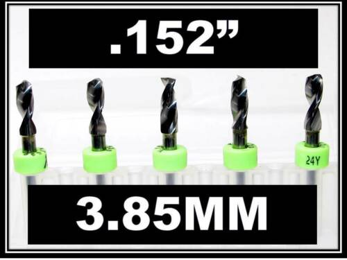 "1//8/"" Shank  Carbide Drill Bits FIVE Pcs CNC Dremel Model Hobby .152/"" 3.85mm"