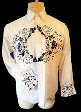 Embroidered medium white black steampunk Victorian shirt heart tuxedo gothic mod