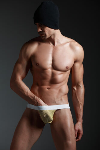 DESIGNER JOCK STRAP//SEMI SEE THROUGH IN YELLOW ALL SIZES. GAY//STRAIGHT-NEW