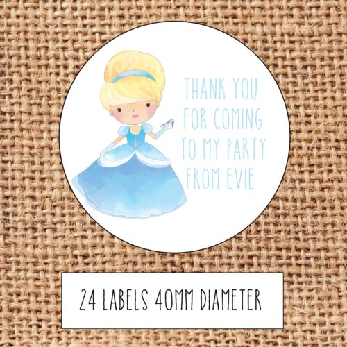 Princess Party bag stickers 24 thank you  coming sweet cone birthday Cinderella1