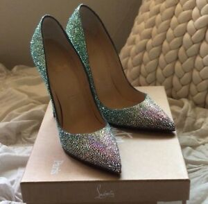 best website d0613 7a01f Details about Christian Louboutin Swarovski Crystals Green So Kate 120  Burma Pumps