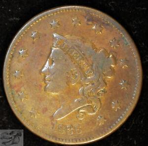 1836 N-3 Coronet Head Large Cent, Fine Details, Pinhole mark Obverse, C4985