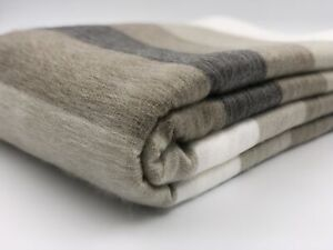 LIMITED-OFFER-SOFT-amp-WARM-BEIGE-STRIPED-BABY-ALPACA-WOOL-BLANKET-PLAID-90-034-x65-034