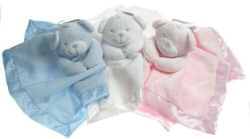 Baby Comforter Blanket Blankie Teddy Bear Toy Gift CE Blue White Pink Soft Touch