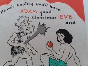 UNUSED-Vtg-ADAM-Good-Christmas-EVE-Be-ABLE-to-Raise-CAIN-All-Year-GREETING-CARD