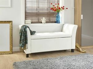 Details About Verona Window Seat Ottoman Large Faux Leather Footstool Storage Box Bench White