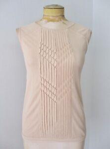 BCBG MAXAZRIA beige nude mesh laser cut geometric ruffle tank top blouse XS