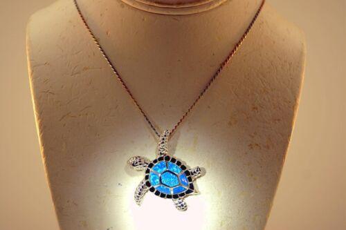42.5 mm 925 Sterling Silver Hawaiian Honu Turtle incrusté Opal CZ Slide pendentif XL