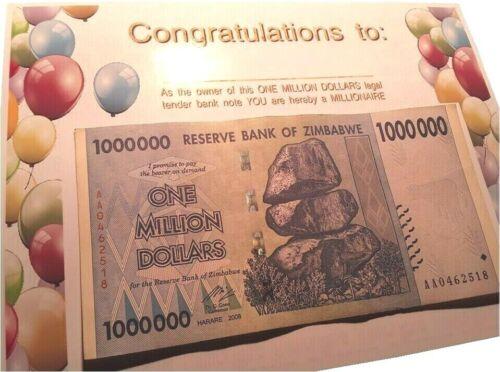 card Zimbabwe birthday Actual ONE MILLION DOLLARS legal tender fun GAG GIFT