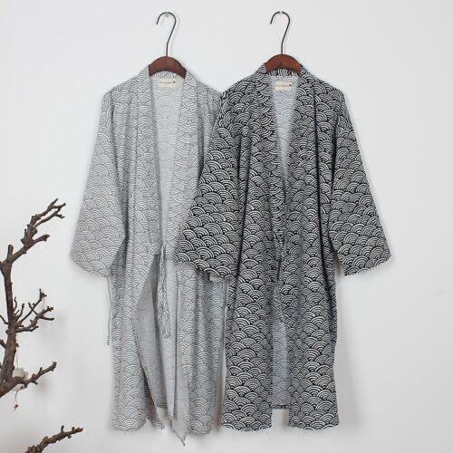 Japanisch Herren Kimono Yukata Baumwolle weich Bademantel Robe Abendkleid