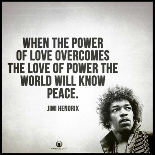 Men/'s Ladies T SHIRT cool Jimi peace quote Power of Love hippy superstar
