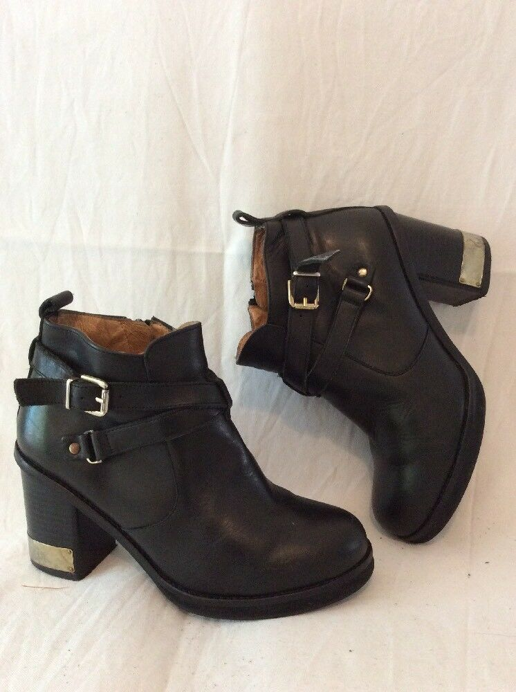 Top Shop Black Ankle Leather Boots Size 37