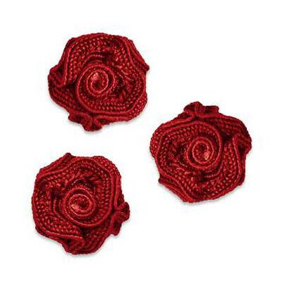 RED RUFFLED ROSETTE FLOWER APPLIQUE PACK OF THREE 2483-B