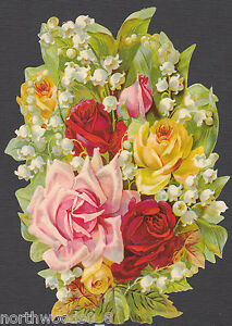 FLORAL-ROSES-BOUQUET-LILLY-VALLEY-SPRING-FLOWERS-PINK-RED-PAPER-SCRAP-EF-GERMAN