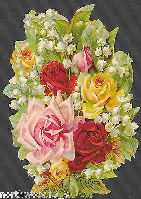 FLORAL ROSES BOUQUET LILLY VALLEY SPRING FLOWERS PINK RED  PAPER SCRAP EF GERMAN